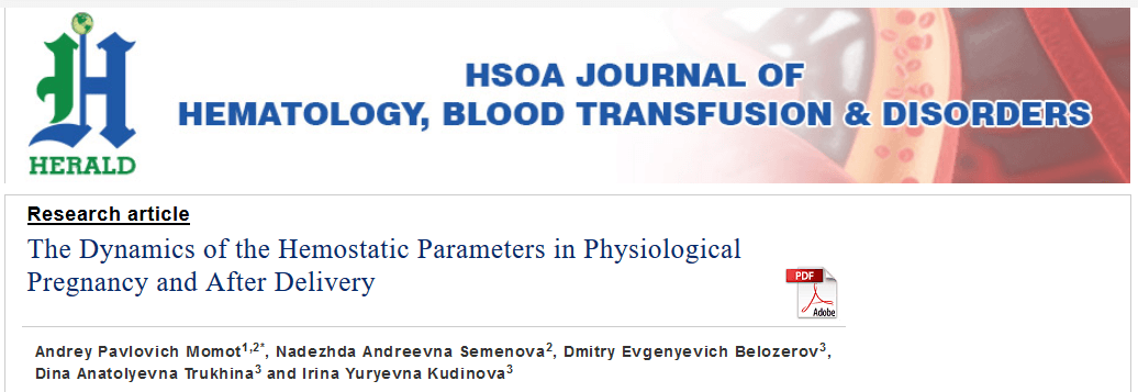 The Dynamics of the Hemostatic Parameters in Physiological Pregnancy and After Delivery